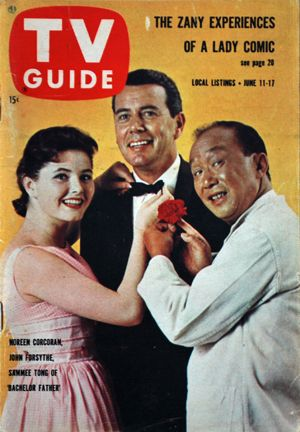 The cast of Bachelor Father on the cover of TV Guide - 1960 - Noreen Corcoran, John Forsthe and Sammy Tong