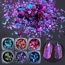 6 Cajas/set NACIDO PRETTY Camaleón Nail Lentejuelas Irregular de Uñas Glitter Lentejuelas Copos de Polvo Del Brillo de Uñas de Gel UV polaco(China)