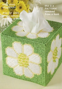 "Free Patterns Plastic Canvas Angels | Daisy Tissue Box Cover"" Plastic Canvas Pattern | eBay"