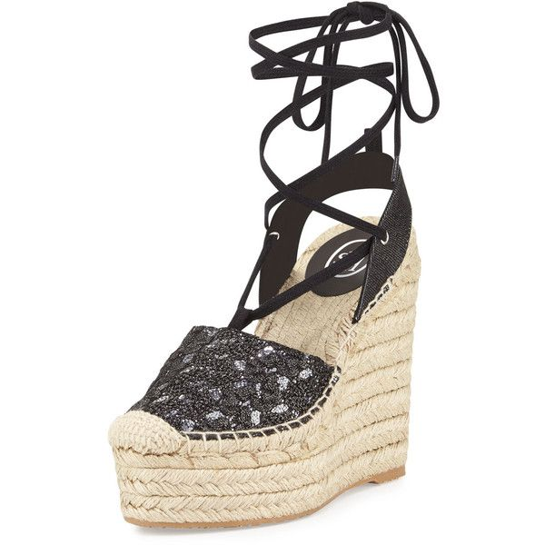 Ash Tessa Lace-Up Espadrille Wedge Sandal (€98) ❤ liked on Polyvore featuring shoes, sandals, black piom, wedge espadrilles, espadrille wedge sandals, black braided sandals, wedge sandals and platform sandals