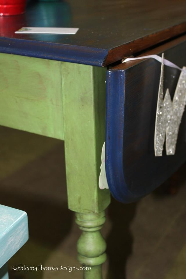 Drop Leaf Table With Two Sides. Top Is Stained With Island Blue And Several  Coats Of Poly. Base And Legs Are Done In Green With Dark Wax.