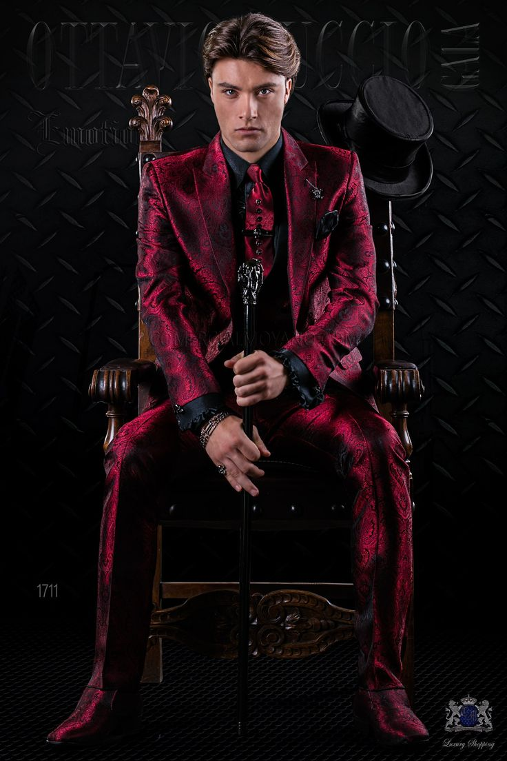 costume italienne pour homme de mode en jacquard rouge costume italien gala et jacquard. Black Bedroom Furniture Sets. Home Design Ideas