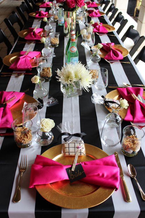 Mimosa Bar....Black & white stripes, gold & hot pink accents. Hot pink sequin linen. Dessert bar. Bridal shower Kate Spade inspired. {So Eventful wedding & events}