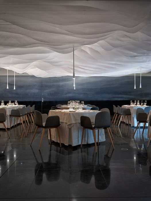 fabric canopy ceiling ? backlit? Restaurante Huarte (Pamplona, Spain), Europe Restaurant | Restaurant & Bar Design Awards