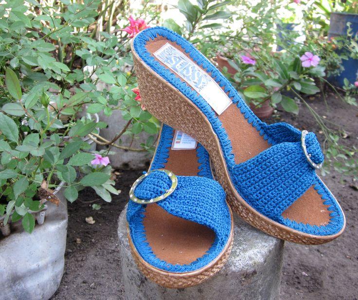 GlobeIn:  Juanita slide Wedge - blue #globein