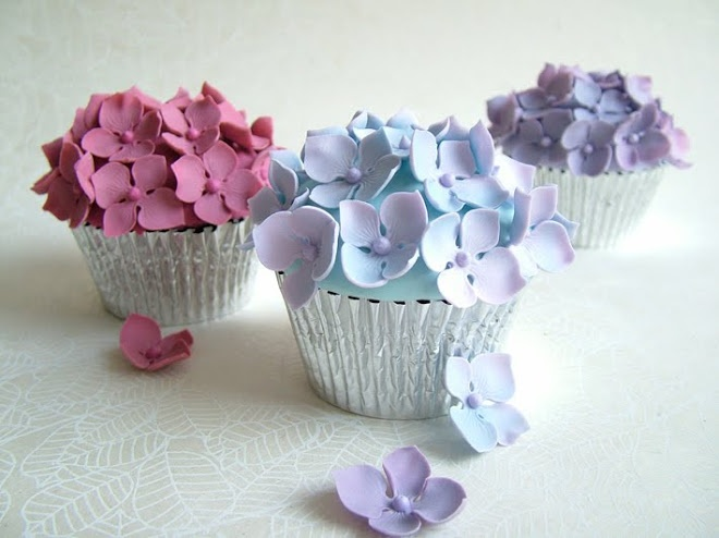 Cupcake and Sons: hortensia cupcakes
