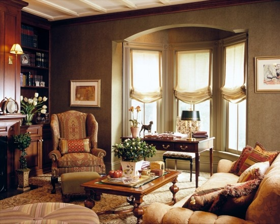 roman shades in traditional living room by lauren ostrow interior design inc