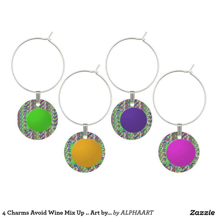 4 Charms Avoid Wine Mix Up .. Art by NavinJoshi Wine Glass Charm