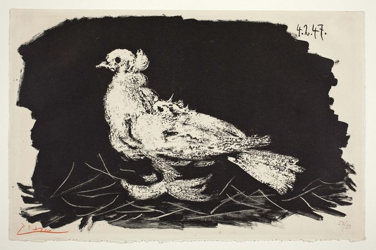 White Pigeon on Black Background, Pablo Picasso, 1947. Lithograph. Detroit Institute of Arts.