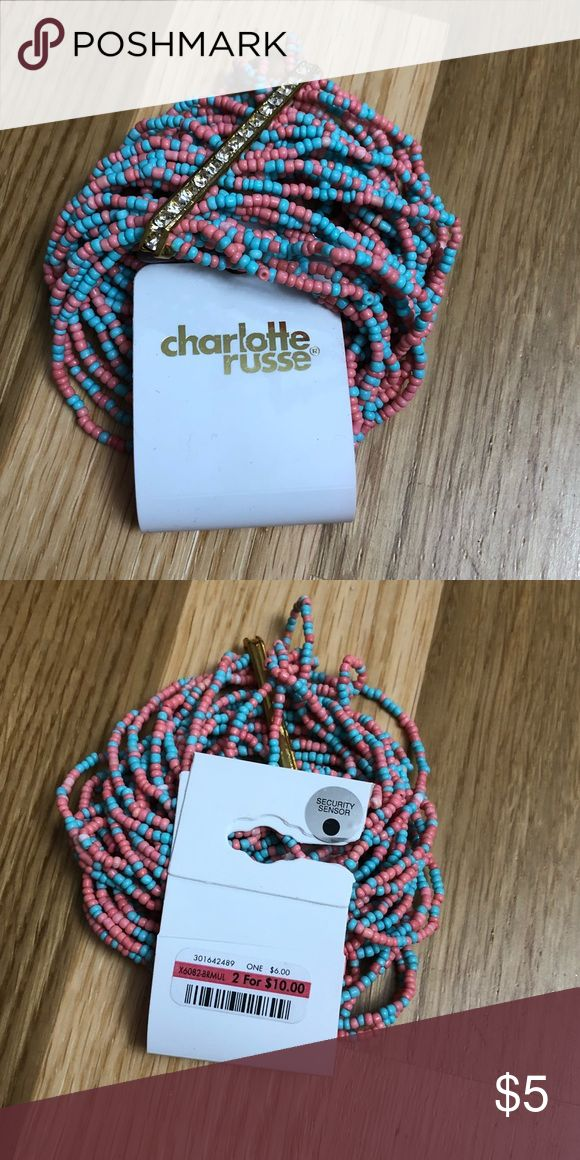 Charlotte Russe Beaded Bracelet Multi color beaded bracelet with rhinestone accent. Elastic bracelet for easy application. One size fits most. Charlotte Russe Jewelry Bracelets