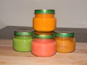 Petits pots bébé maison : Petits pois  Poires // Citrouille  Banane // Mangue  Fraise // Courge