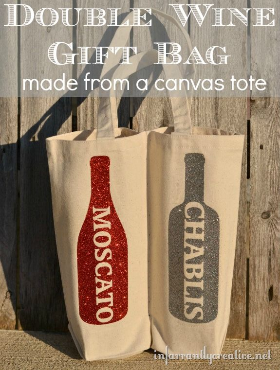 Make a double wine tote from a canvas bag. I would do this with a stencil and paint instead, but totally love the inspiration.
