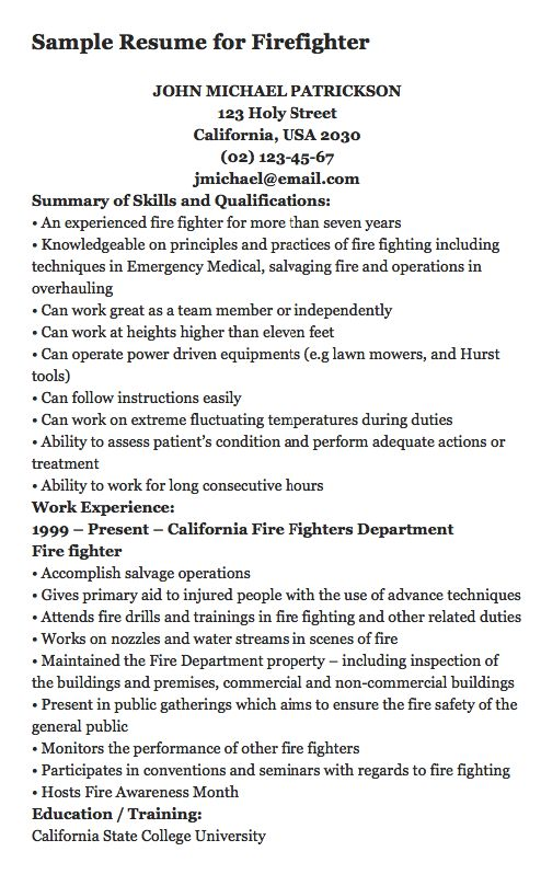 Más de 25 ideas fantásticas sobre Firefighter Resume en Pinterest - emt resume sample