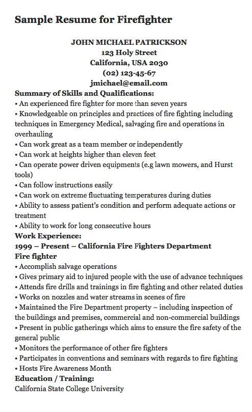 best 25  firefighter resume ideas on pinterest