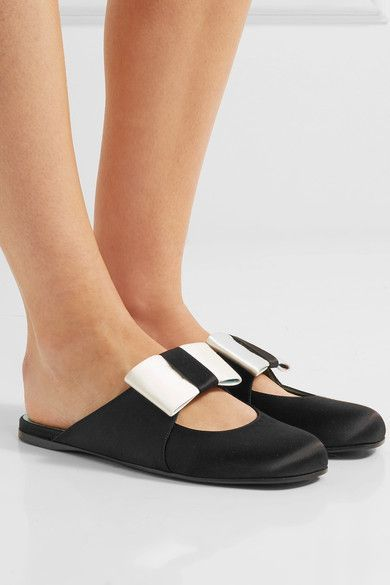 Gucci - Bow-embellished Satin Slippers - Black - IT
