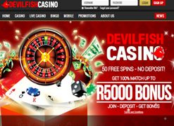 Get 50 #FreeSpins for all South African Players at #DevilfishCasino  Devilfish Casino has been around for over 10 years and is one of the most trusted sites around. Play in South African Rand. No Credit Card required. Signup today for an instant 50 Free Spins - No Deposit necessary!  http://www.onlinecasinosonline.co.za/devilfish-casino-review.html