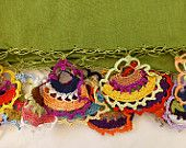 Green Cotton Voile Long Scarf Shawl with Hand Crocheted Multicoloured  Fan  Oya Shaped Edging