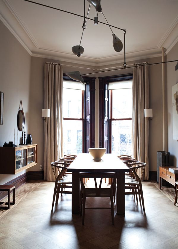 Luminous Dining Room With Modern Touches Wishbone ChairBrooklyn