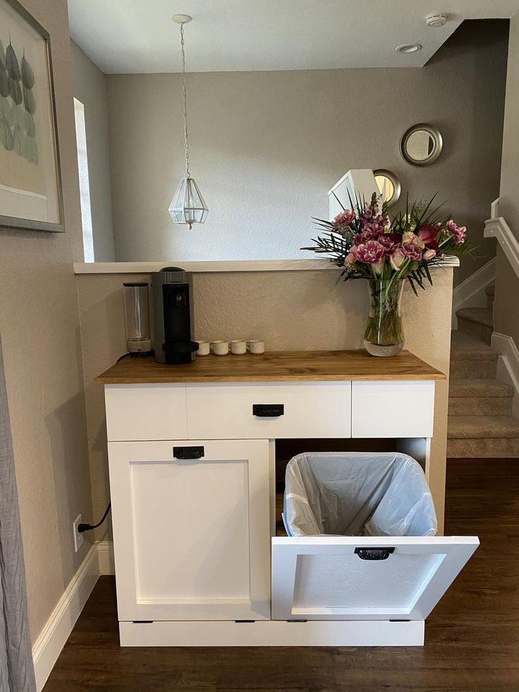Trash Can Cabinet, Double Trash Bin, Tilt Out Door ...