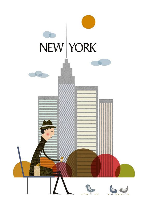 New York, Illustration of City, Poster city, Cool poster, Size A3