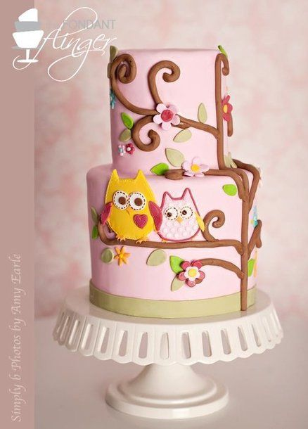 Baby Girl Owl Cake - by FondantFlinger @ CakesDecor.com - cake decorating website