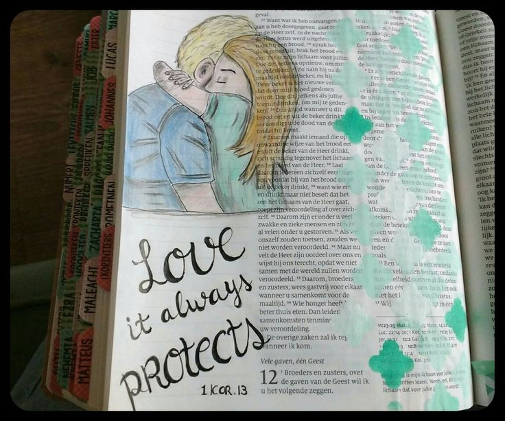 1 Korintiërs 13 #biblejournaling #loveProtects #drawing #lettering