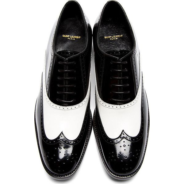 Saint Laurent Black and White Leather University Richelieu Spectator... ($935) ❤ liked on Polyvore featuring shoes, black and white oxfords, lace up shoes, black white wingtip shoes, leather oxfords и oxford shoes