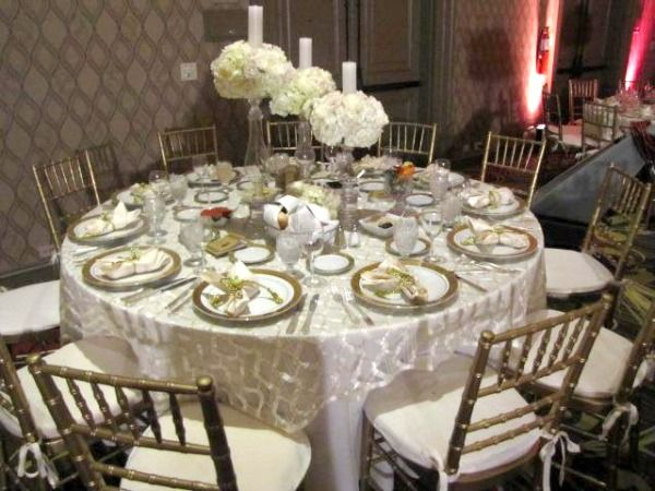 Silver Metallic Table Linens - Wedding, Bat Mitzvah Linen Rentals NYC (Michael Zac Design Group, Premier Skirting) - mazelmoments.com