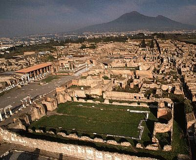"""Pompei-Italy. An entire city burried in molten lava rock from Mt. Vensuvius in the background of the picture. This civilization had the first """"Spa"""", """"Vetrinary Hospital and hospic"""" and """"oven""""/cooking systems. They were amazingly ahead of the time and you would not imagine without seeing how the people of Pompeii used things just as we do today. Theri clock was a opening in a structure to see when the sun peaked the mountain. Amazing!"""