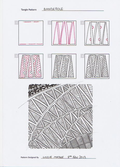 Freehand doodle patterns - Flickr group with various people's contributions and step by step tangles