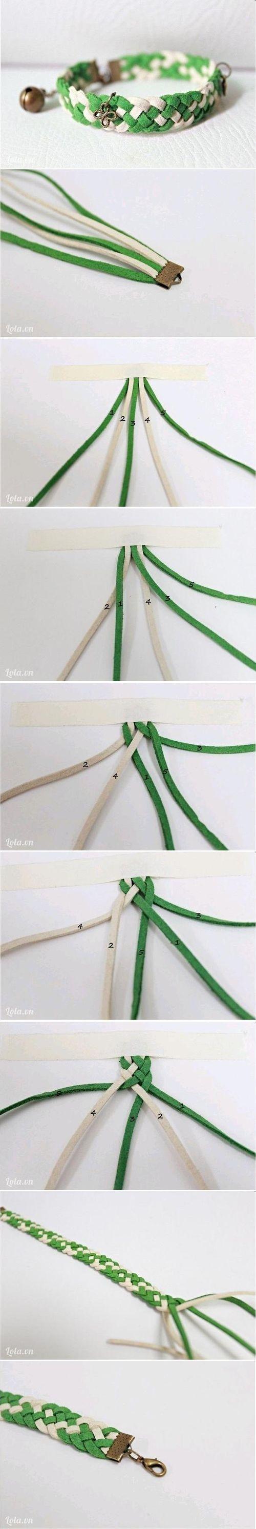 DIY Bracelet verde blanco
