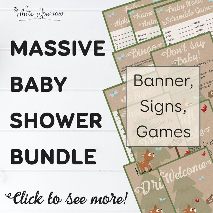 Order this massive printable Woodland baby shower bundle and receive a FREE matching Invitation!! Included in this bundle are signs, games and a banner. Forest | baby animals | rustic