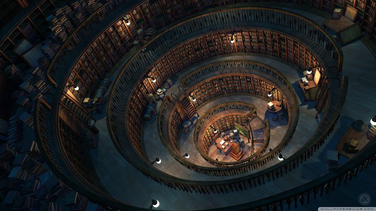 Fantasy Library Bookshelves Circle Tower