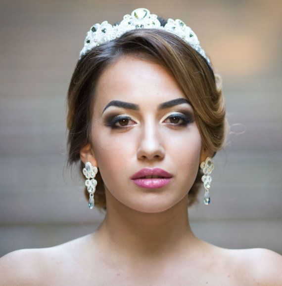 wedding set wedding crown and earrings soutache by rodicasoutache