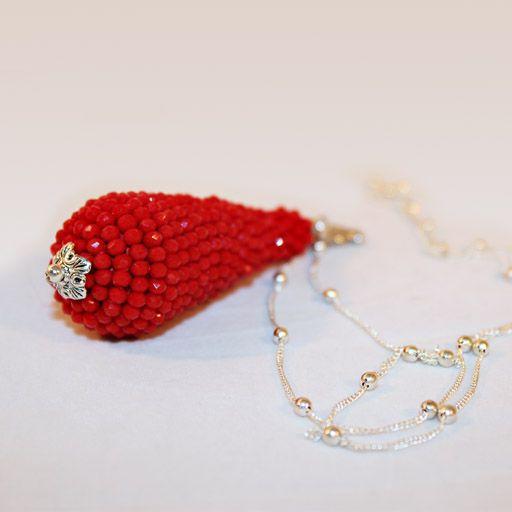 #Collana Catenina Lunga Argento Ciondolo Strass Rosso