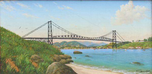 Ponte Hercílio Luz, 1988 [Reconstituição da paisagem em Florianópolis] Eduardo Camões (Brasil, 1955) óleo sobre tela, 20 x 40 cm