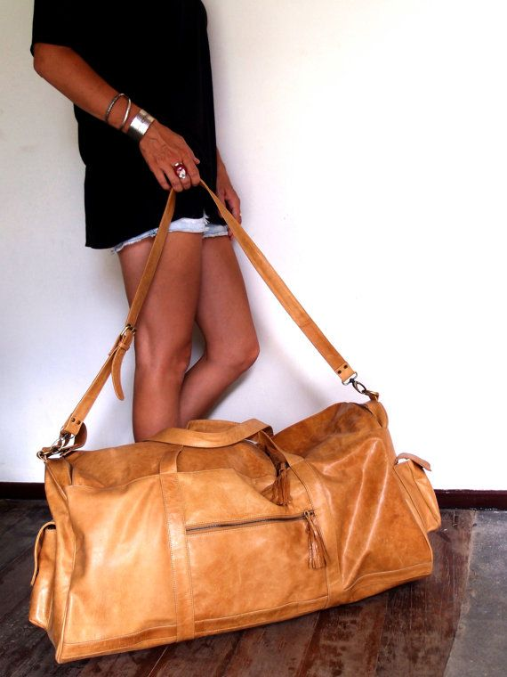 JOURNEY. Duffel bag / Travel bag / Leather luggage. Large bag with crossbody strap. Available in different leather colors.. $399.00, via Etsy.
