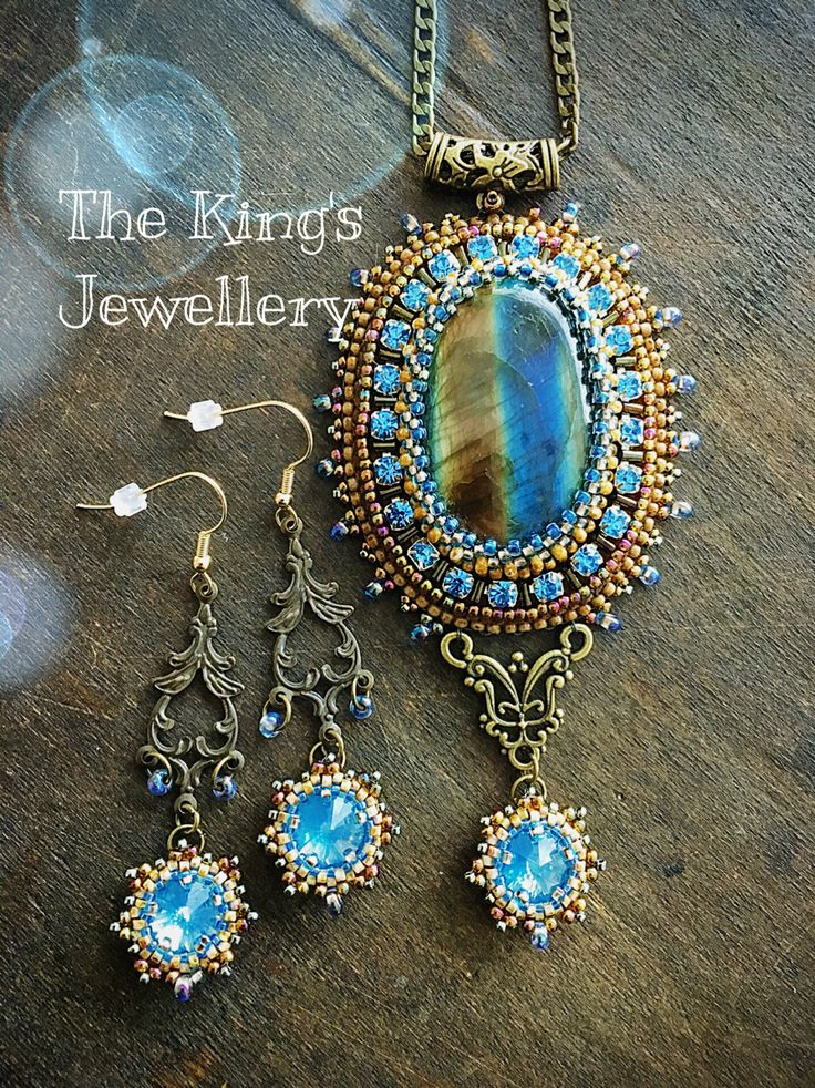 Two-tone Labradorite pendant with matching earrings❤️ By Astrid de Koning-the…
