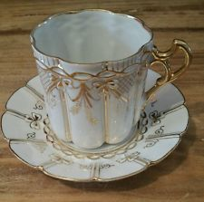 Antique Unmarked Tea Cup and Saucer White and Gold