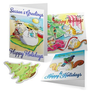 Season's greetings from YOUR Business. Deliver a festive slice of custom-designed Christmas magic to the mailbox of your clients with a uniquely crafted CHRISTMAS CARD. Available in a choice of sizes including DL, A6, A5 (A6 when folded), or A4 (Mega Size!)