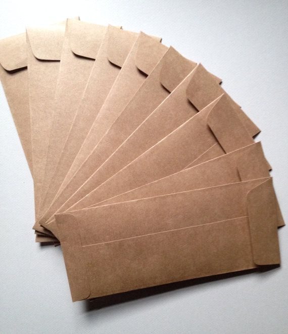 25 Kraft Envelopes 9 1/2 x 4 1/8 Rustic от paperetteshoppe на Etsy