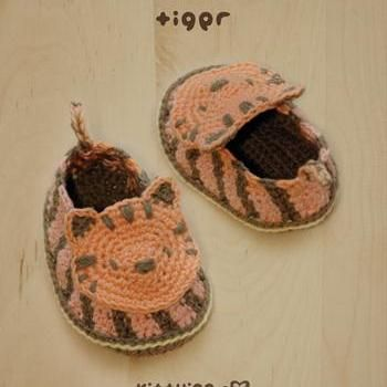 Tiger Baby Booties Crochet PATTERN, SYMBOL DIAGRAM (pdf) by kittying
