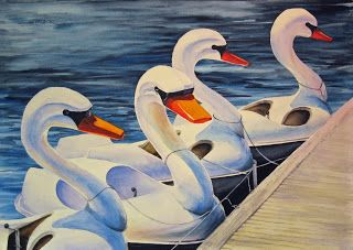 step-by-step painting tutorial, how to paint swan boats in watercolor