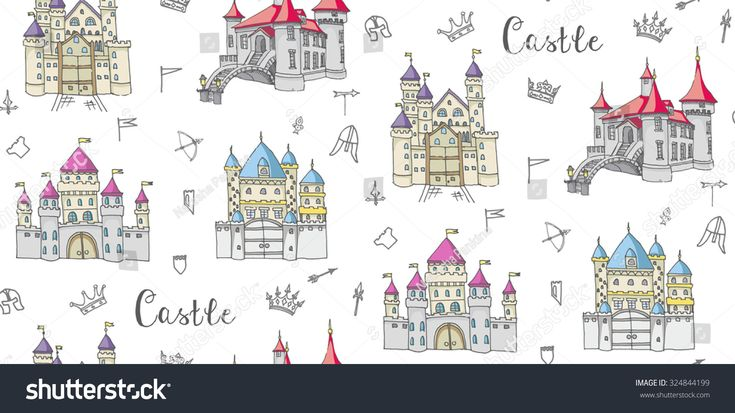 Seamless background of set of hand drawn cartoon fairy tale princess castle icons, castle doodle vector sketch with set of fairytale, game icons - crossbow, arrow, knight helmet, flag,  crown