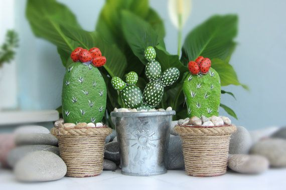 Stone cactus in flowerpot 3 piece by CanitinLivingStones on Etsy