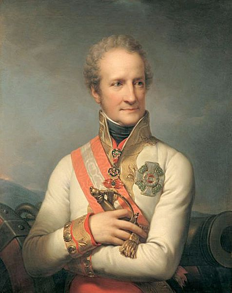 Johann I Joseph (1760-1836) was the last Liechtenstein prince to rule under the Holy Roman Empire. At the Battle of Austerlitz, he led the 4,600 cavalry of the 5th Column. His troops fought well but he was unable to save the Austrian-Russian army from a disastrous defeat.