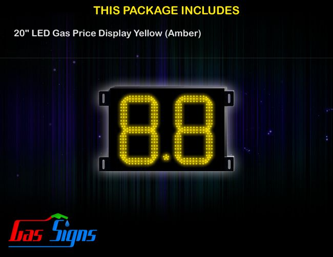 20 Inch 8.8 LED Gas Price Display Yellow with housing dimension H590mm x W755mm x D55mmand format 8.8 comes with complete set of Control Box, Power Cable, Signal Cable & 2 RF Remote Controls (Free remote controls).