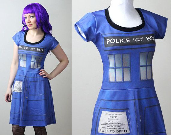 DOCTOR WHO Tardis police box dress with sleeves  by smarmyclothes, $199.00