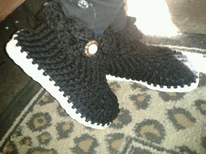 botas tejidas a #crochet