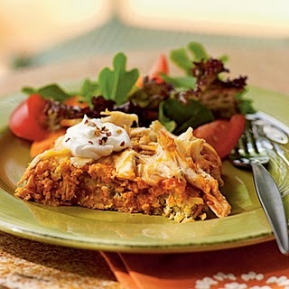Lowfat Chicken Tamale Casserole.  Would be really good with the green Wegmans salsa